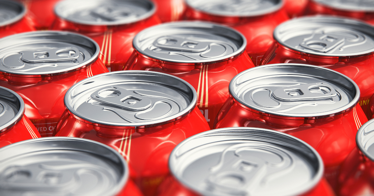 Macro View of Soda Cans