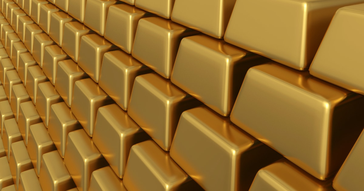 Large stack of gold bars